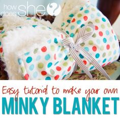 Easy sewing projecy. Super easy Minky Blanket tutorial with a cotton print! Great baby shower gift idea! from howdoesshe