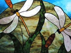 Stained Glass Double Dragonfly Panel by RenaissanceGlass on Etsy, $330.00