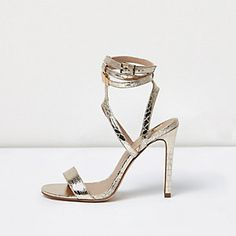 e0b6bbf514f6 Gold wide fit metallic caged strappy sandals Gold High Heel Sandals