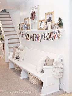 Christmas card display hunt below a shelf.  The Painted Parsonage