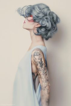 hair color- blue grey gorgeous tattoos