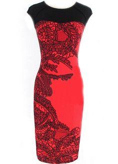 Color-block Short Sleeve Vintage Print Bodycon Dress