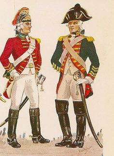 Trooper of the 13th dragoons and officer of the Royal Horse Guards in 1793 (Great Britain).