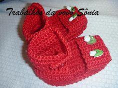 Trabalhos da vovó Sônia: Sapatinho de bebê tipo sandália vermelho tulipa - ...