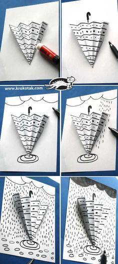 parapluie et graphisme - Middle School Art, Art School, Art For Kids, Crafts For Kids, Classe D'art, Art Activities, Children Activities, Rainy Day Activities, Umbrella Art