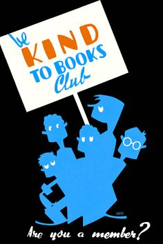 """Be Kind To Books Club - Restored Vintage 1930s """"book club"""" poster"""