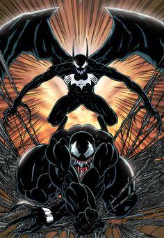 Venom and Bat-Fiend by VeRYiLL