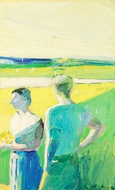paul wonner I959 boy and girl in garden