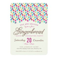 Gumdrops & Gingerbread House Decorating Party Invitation Card