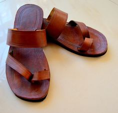 Single Band Leather Sandals  Handmade Indian by IncredibleIndia, $42.00