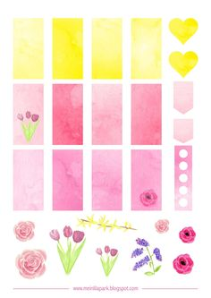 FREE printable planner stickers for spring | watercolor design