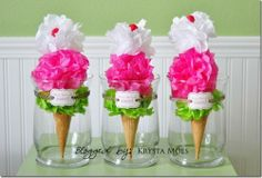 Ice Cream Social - Tissue Paper Cones or could use real flowers and a wood bbq skewer and hot glue into a cone