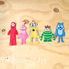 Yo Gabba Gabba Felt Magnets - Perfect little fridge magnets for your Yo Gabba Gabba fan! {Free Sewing Pattern by Whistle and Ivy}