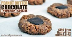 Peanut Butter Chocolate Thumbprints  EDITOR'S NOTE: In addition to being Gluten-free, these cookies are also GMO-Free and Dairy-Free!