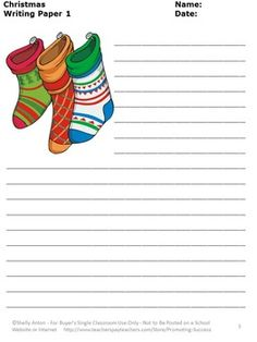 Free Christmas: Here are 3 printable Christmas writing papers for your classroom! Each Christmas worksheet features different picture with lines I hope you and your students enjoy this Christmas freebie!