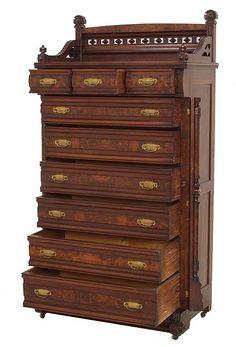 Grand Walnut Renaissance Revival Walnut Victorian gentleman's Lockside Chest.