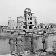 Australian army nurses based at the British Commonwealth General Hospital in Japan visit the ruins of Hiroshima in 1955. HOBJ5720