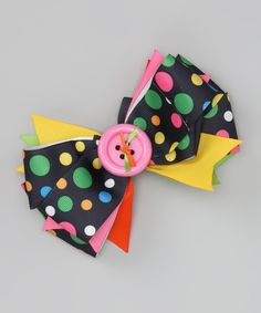 Take a look at this Pink & Yellow Polka Dot Button Bow Clip on zulily today!