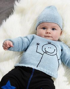 Knitting pattern - knitted sweater with stick man and hat. The clothing . Knitting pattern – knitted sweater with stick man and hat. Baby Boy Knitting, Knitting For Kids, Baby Knitting Patterns, Baby Girl Sweaters, Knitted Baby Clothes, Baby Vest, Baby Cardigan, Knit Cardigan, Bebe Love