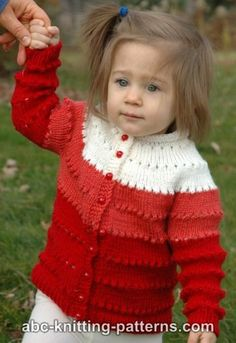 The Sweetheart Eyelet Cardigan is knitted seamlessly from the top down, back and forth. There are rounds of eyelets starting from the neck to the bottom of the cardigan. This adorable free knitting pattern can& be beat. Baby Knitting Patterns, Baby Sweater Patterns, Baby Cardigan Knitting Pattern, Knit Baby Sweaters, Knitting For Kids, Free Knitting, Crochet Cardigan, Crochet Patterns, Free Crochet