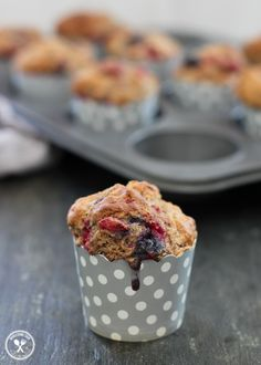 Wholemeal Raspberry and Blueberry Muffins