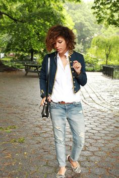 Get this look (jacket, blouse, jeans, flats) http://kalei.do/WsglRtkR4K0ADhsw