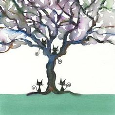 'Cats in Trees' Artwork No.10 by Lori Alexander #straycatart ♥•♥•♥