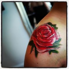 pink rose tattoo shoulder - Google Search