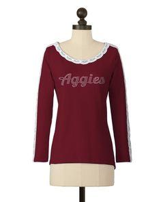 Texas A & M Aggies | Lace Sleeve Detail Top | meesh & mia