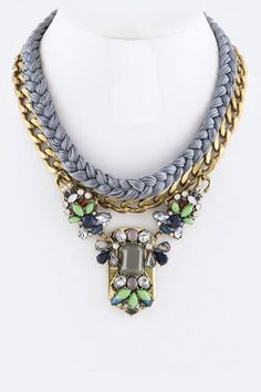Midday Blues  Braided Layer Chain Statement Necklace. 18 inches + 2 inch extension.