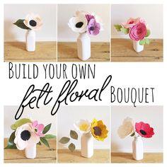 Construir tu propio ramo de flores de fieltro personalizados || Fieltro Flores || Tallos de flores || Flores de boda || Ramo de novia || Ramo personalizado || Florales