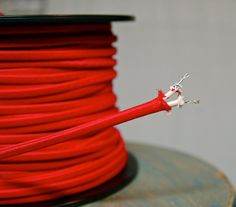 6 Feet Red 2Wire Cloth Covered Cord Vintage by SnakeHeadVintage, $9.48 on Etsy