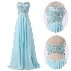Aliexpress.com: Comprar 2015 nueva luz azul sin tirantes rebordeó la gasa larga prom vestidos fiesta de vestido de vendaje fiable proveedores en Veiai