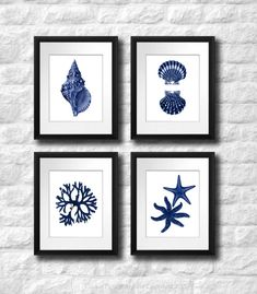 Coastal Wall Decor Navy Blue Wall Art set of 4 Beach Decor