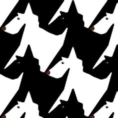 Tesselating Black and White Scottie Dogs fabric by eclectic_house on Spoonflower - custom fabric