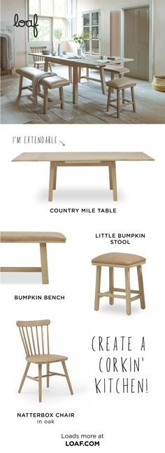 This loafy take on the classic oak kitchen table is a really nifty piece of design - when you extend the top the legs stay right where they are. Extendable Kitchen Table, Comfy Sofa, Oak Table, Country Decor, Decoration, New Homes, Chairs, Room Decor, Living Room