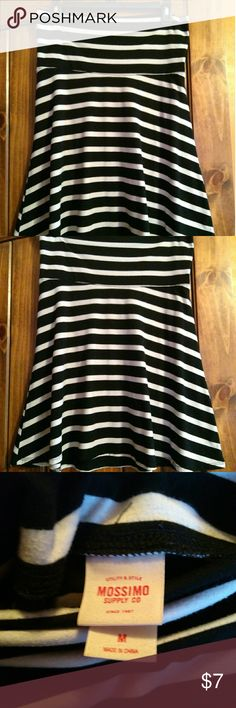 Striped Knit Circle Skirt Black and White striped knit skirt!!! Super comfy! Has a slight pilling but still has lots of life left!  Feel free to make me an offer! 😊 Mossimo Supply Co. Skirts Circle & Skater