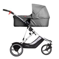 phil&teds dash luxury lightweight stroller with carrycot grey marl side view