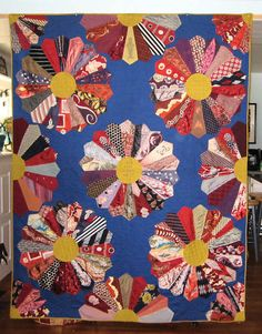 Antique African American Quilt, 1958, made from 1940's-era neckties. The silks show birds, golf clubs, and swordfish.