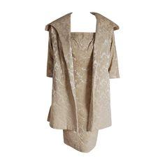 1950's Lilli Diamond Beaded Champagne Silk Brocade Cocktail Dress & Swing Coat