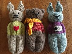 Knit a little comfort for little ones in the form of a Rabbit, Mouse, Kitty or Bear.
