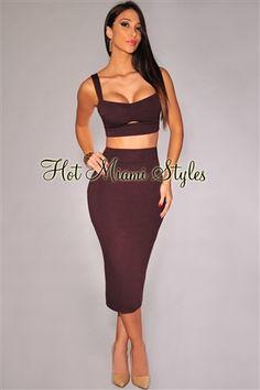 e4dd77f2b9 Chocolate Bustier Peep-Hole Padded Two Piece Set. Sexy GownSexy DressesTwo  Piece SetsTwo PiecesHot Miami StylesClubwear ...