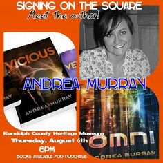 [August 6, 2015] Meet young adult sci-fi author, Andrea Murray at the Randolph County Heritage Museum at 6 pm.