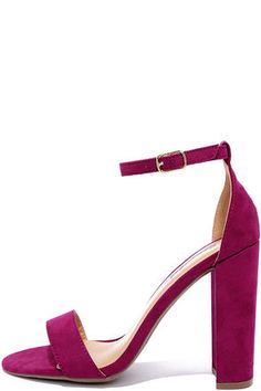 We could give you a long list places to wear the Social Scene Berry Purple Suede Ankle Strap Heels, but we know you'll do just fine! These vegan suede heels have a pretty peep-toe upper with adjustable ankle strap (and gold buckle).