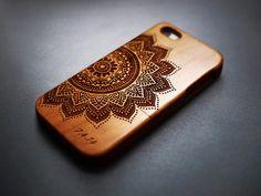 Cherry Wood Mandala iPhone 6 plus 6 5c 5s 5 4 4s Case - Custom Numbers & Initials - iPhone 6 6 plus Case Wood - Wooden iPhone 6 plus 6 Case
