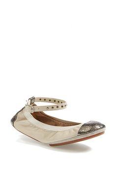 Yosi Samra 'Abbey' Ankle Strap Foldable Ballet Flat