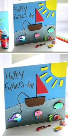 DIY Fishing Card | Easy Fathers Day Cards for Kids to Make