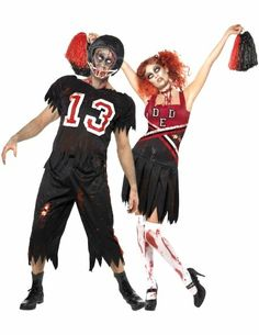Zombie Footballer and Cheerleader, Group Halloween Costumes, Couples Halloween Costumes and Family Halloween Costumes