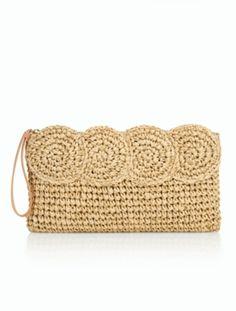 Crochet Paper Straw Clutch - Metallic - Talbots