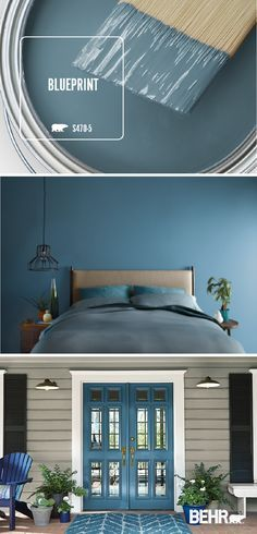 See what the Behr 2019 Color of the Year, Blueprint, can do for your home. These… See what the Behr 2019 Color of the Year, Blueprint, can do for your home. These creative interior design looks include everything from a dark blue master bedroom upgrade to Paint Colors For Home, House Colors, Behr Paint Colors, Entryway Paint Colors, Interior Door Colors, Valspar Colors, Basement Paint Colors, Modern Paint Colors, Pastel Interior